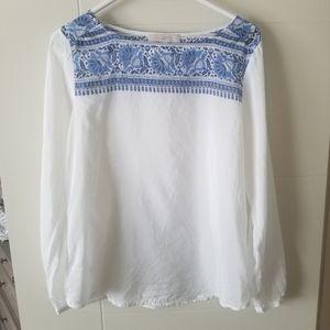 Ann Taylor LOFT Silk Cotton Embriodered Blouse